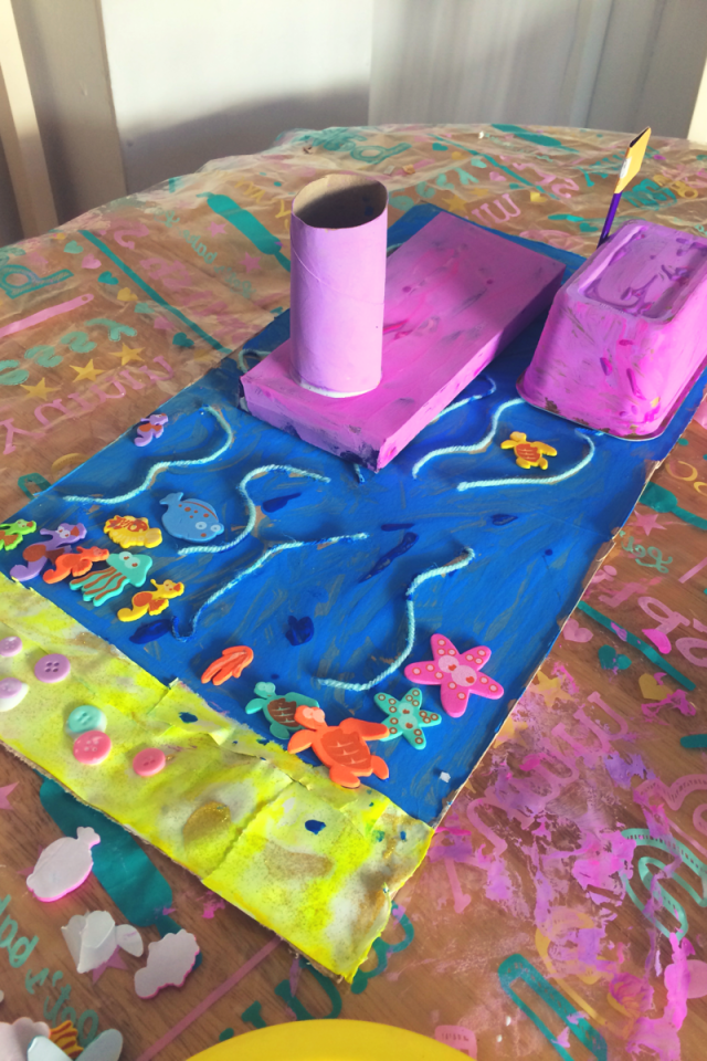 Messy Crafts For Kids - Model Boats and Sea